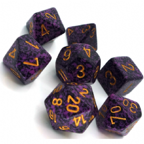 Purple & Black 'Hurricane' Speckled Polyhedral 7 Dice Set